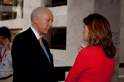 Sen. Orrin Hatch (UT) speaks to NBCs Nora O'Donnell during a break.