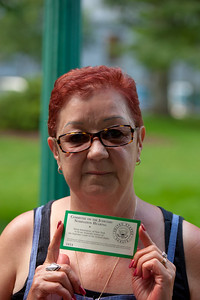 "Norma McCorvey (""Jane Roe"" of Roe vs Wade) holding a public admissions pass to the hearings - McCorvey is now a pro-life activist"