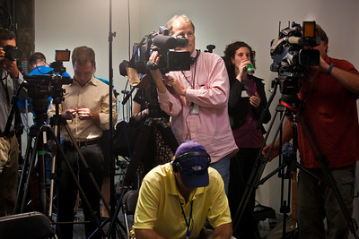 cameras on Sen. Arlen Specter giving a statement - after the conclusion of the first day of the hearings