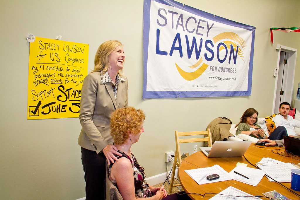 Congressional candidate Stacey Lawson with her mom, Roberta Lawson, after the polls closed at  her campaign headquarters in Mill Valley, Calif., on Tuesday,  June 5th, 2012.