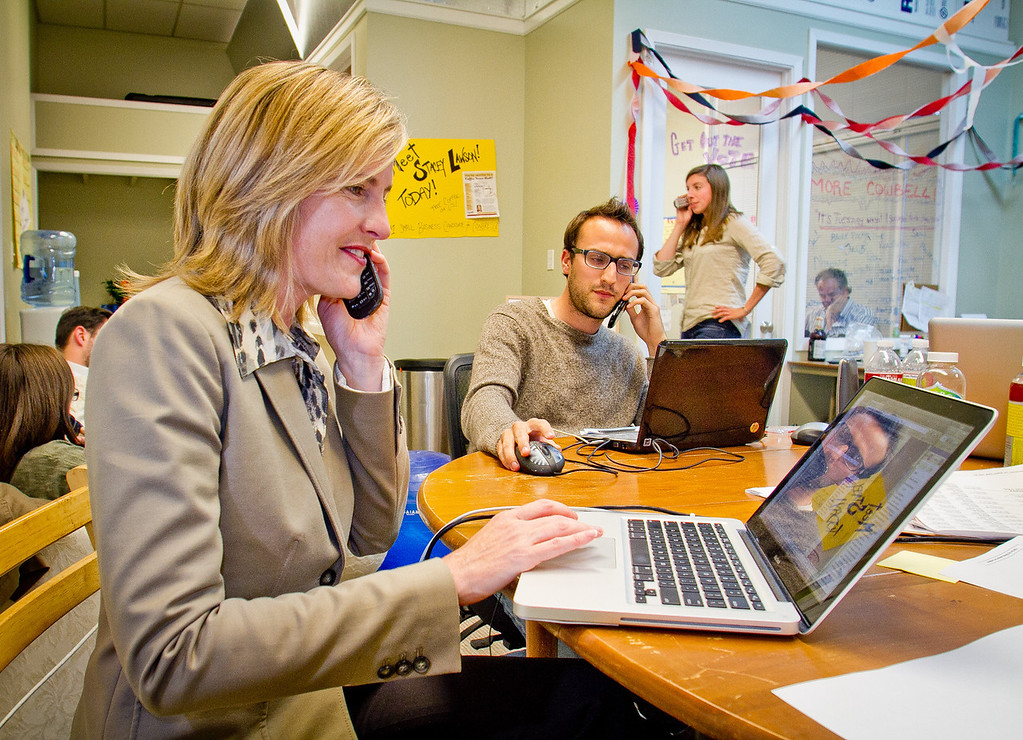 Congressional candidate Stacey Lawson with volunteers make last minute calls to voters before at  her campaign headquarters in Mill Valley, Calif., on Tuesday,  June 5th, 2012.
