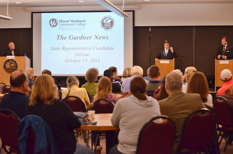 State Representative Candidates Jon Zlotnik and Garret Shetrawski took part in a debate on Wednesday evening at Mount Wachusett Community College. SENTINEL & ENTERPRISE / Ashley Green
