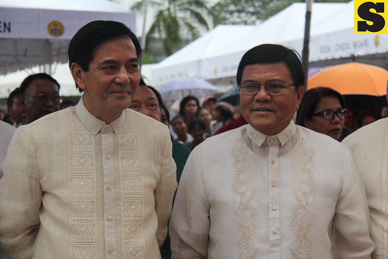 CEBU CITY. Mayor Michael Rama stands beside Vice Mayor Edgardo Labella at Plaza Independencia during Rama's State of the City Address on July 4, 2015. (Nicko Tubo/Sunnex)