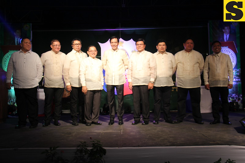 CEBU CITY. Mayor Michael Rama together with Vice Mayor Edgardo Labella and City Councilors during the State of the City Address held at Plaza Independencia on July 4, 2015. (Nicko Tubo/Sunnex)