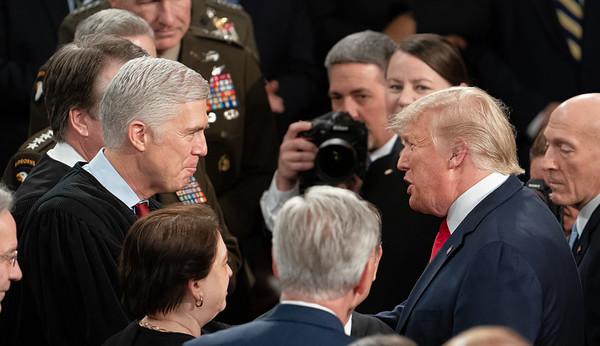 President Trump greets Supreme Court Associate Justice Neil M. Gorsuch