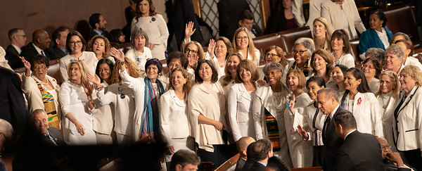 Democratic congresswomen wear white to honor the women's suffrage movement that led to the ratification of the 19th Amendment in 1920, which granted women the right to vote.