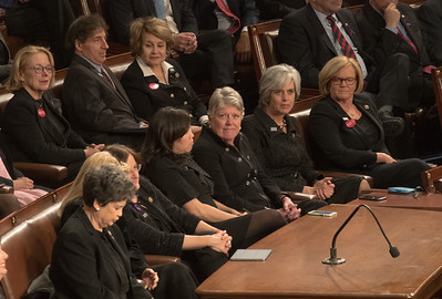 Congressional Democrats wear all black protesting sexism, sexual abuse, and notably, sexual harassment of the kind that Trumo himself has been accused of.