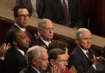 Cabinet Members Steven Mnuchin (Treasury), Ben Carson (Housing), Jim Mattis (Defense) and Attorney General Jeff Sessions