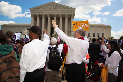 Members of the clergy march against Arizona law SB 1070. The U.S. Supreme Court heard arguments over the controversial law that requires police to check the immigration status of people they stop for any reason, as protestors for both sides rallied in front of the court steps in Washington D.C. on Wednesday, April 25, 2012. (Photo by Jeff Malet)