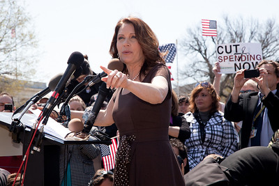 "Rep. Michele Bachmann (R-MN) celebrated her 55th birthday in part Wednesday, April 6, 2011, with a familiar rant against President Barack Obama, liberal Democrats and government spending. She was the keynote speaker at a noon ""Cut Spending Now Revolt"" on the steps of the Capitol building in Washington DC to urge lawmakers to reduce federal spending. The Tea Party style rally was organized by Americans for Prosperity, a conservative, free-market group. (Photo by Jeff Malet)"