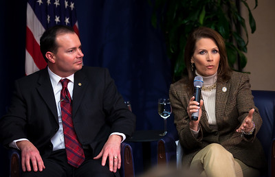"Senator Mike Lee (R-UT) and Rep. Michele Bachmann (R-MN) speak to conservative activists in what organizers called the ""first Tea Party town hall"" on Tuesday, February 8, 2011 at the National Press Club in Washington DC. The event was sponsored by Tea Party Express and Tea Party HD. Bachmann heads the House Tea Party Caucus. (Photo by Jeff Malet)"