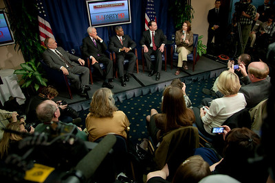 "Rep. Steve King (R-IA), Senator Orrin Hatch (R-UT), Rep. Allen West (R-FL), Senator Mike Lee (R-UT) and Rep. Michele Bachmann speak to conservative activists in what organizers called the ""first Tea Party town hall"" on Tuesday, February 8, 2011 at the National Press Club in Washington DC. The event was sponsored by Tea Party Express and Tea Party HD. (Photo by Jeff Malet)"