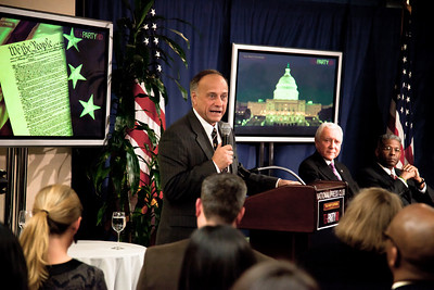 "Congressman Steve King (R-IA) speaks to conservative activists in what organizers called the ""first Tea Party town hall"" on Tuesday, February 8, 2011 at the National Press Club in Washington DC. The event was sponsored by Tea Party Express and Tea Party HD. (Photo by Jeff Malet)"