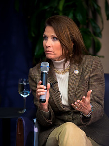 "Congresswoman Michele Bachmann (R-MN) speaks to conservative activists in what organizers called the ""first Tea Party town hall"" on Tuesday, February 8, 2011 at the National Press Club in Washington DC. The event was sponsored by Tea Party Express and Tea Party HD. Bachmann heads the House Tea Party Caucus. (Photo by Jeff Malet)"