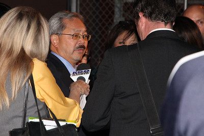 Mayor Edwin Lee had not yet entered his party but did allow for a short interview in the parking lot behind Très.  This was as close as I could get.    Mayor Edwin Lee's party at Très, 130 Townsend Street, San Francisco, 10pm to 10:15pm.