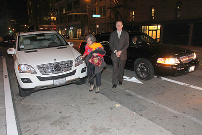 Susan Bryan was reluctant to cross such a wide street so our driver swung around to let her and John Nulty off right in front of our 6th destination, party 6 of 10 - Mayor Edwin Lee's party at Très, 130 Townsend Street, San Francisco, It is 10pm.