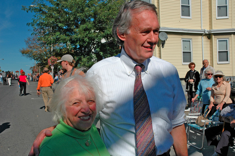 Ed Markey and old friend, Columbus Day Parade, Revere, MA