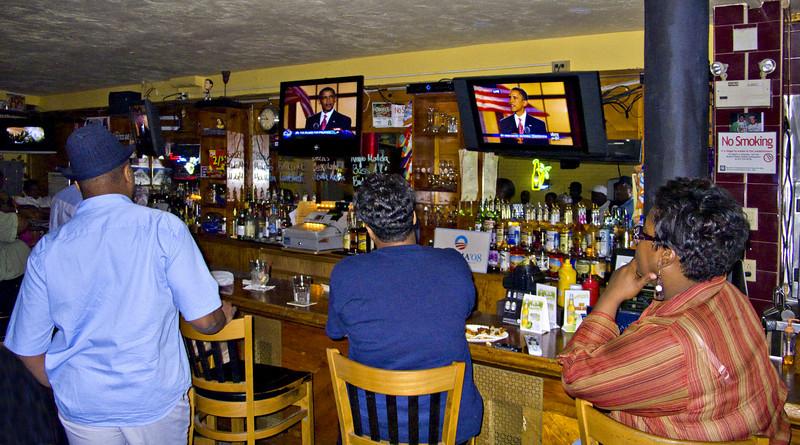Watching Obama's Acceptance Speech, C & S Tavern, Roxbury, MA 2008