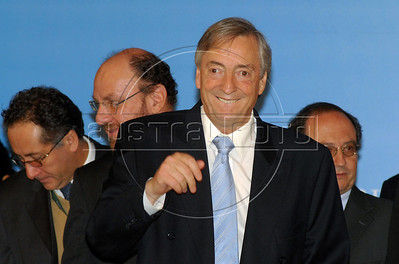 Former Argentine President Nestor Kirchner, after took the oath as the secretary-general of the Union of South American Nations Union (UNASUR) in Campana, 70 km north of Buenos Aires, Argentina, May 4, 2010. (Austral Foto/Horacio Paone)