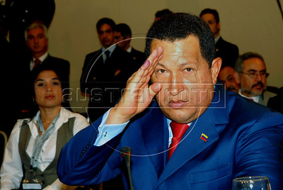 Venezuela's President Hugo Chavez attends the Union of South American Nations Union (UNASUR) summit in Campana, 70 km north of Buenos Aires, Argentina, May 4, 2010. (Austral Foto/Horacio Paone)