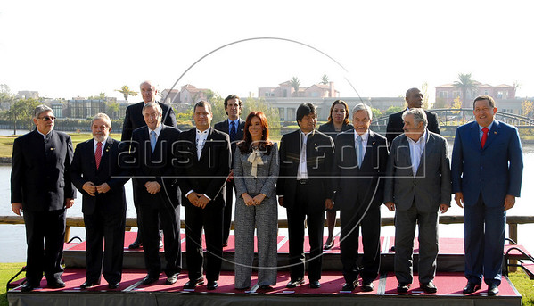 Presidents and Foreign Ministers of the member countries of the Union of South American Nations Union (UNASUR) pose with newly elected secretary-general Nestor Kirchner (3rd L first row ) for the group photo after their annual summit in Campana, 70 km north of Buenos Aires, Argentina, May 4, 2010. (Front L to R) Paraguay's President Fernando Lugo, Brazil's President Luiz Inacio Lula da Silva, Ecuador's President Rafael Correa, Argentina's President Cristina Fernandez de Kirchner, Bolivia's President Evo Morales, Uruguay's President Jose Mujica and Venezuela's President Hugo Chavez. (Back L to R) Peru's Foreign Minister Jose Antonio Garcia Belaunde, Colombia's Foreign Minister Jaime Bermudez Merizalde, Guyana's Foreign Minister Carolyn Rodriguez-Birkett and Suriname's Foreign Minister Lygia Kraag-Keteldijk. (Austral Foto/Horacio Paone)