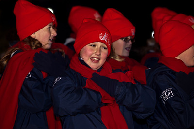 Members of the Cheyenne All City Children's Choir entertain with a medley of carols during the 2010 Capitol Christmas Tree lighting ceremony. In one of her last official roles as Speaker of the House, Nancy Pelosi (D-CA) lit the tree during a 5 PM ceremony on the West Front lawn on December 7, 2010 in Washington DC.  The 67-foot Engelmann spruce came from Wyoming's Bridger-Teton National Forest and was decorated with thousands of ornaments made by Wyoming residents. (Photo by Jeff Malet)