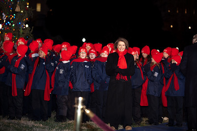 In one of her last official roles as Speaker of the House, Nancy Pelosi (D-CA) lights the US Capitol's Christmas tree during a 5 PM ceremony on the West Front lawn on December 7, 2010 in Washington DC. Members of the Cheyenne All City Children's Choir entertained with a medley of carols.  The 67-foot Engelmann spruce came from Wyoming's Bridger-Teton National Forest and was decorated with thousands of ornaments made by Wyoming residents. (Photo by Jeff Malet)