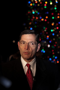 Wyoming Senator John Barrasso (R) spoke during the 2010 Capitol Christmas Tree lighting ceremony. In one of her last official roles as Speaker of the House, Nancy Pelosi (D-CA) lit the tree during a 5 PM ceremony on the West Front lawn on December 7, 2010 in Washington DC.  The 67-foot Engelmann spruce came from Wyoming's Bridger-Teton National Forest and was decorated with thousands of ornaments made by Wyoming residents. (Photo by Jeff Malet)