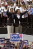 US Presidential candidate John Kerry, left and Vice-Presidential candidate John Edwards greet the crowd at a rally at NC State University in Raleigh, NC, Saturday, July 10, 2004.(Australfoto/Douglas Engle)