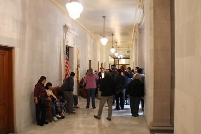 Approaching the main legislative chambers in search of Mayor Edwin Lee.