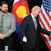 "Joe Biden, right, has a laugh with a staff member as he waits with Duane Bartley, a new employee at UQM Technologies.<br /> Joe Biden, Vice President of the United States, visited UQM Technologies, outside Longmont, to talk about how the Recovery Act is transforming the American economy through investments in innovation and technology.<br /> For more photos  and a video of the visit, go to  <a href=""http://www.dailycamera.com"">http://www.dailycamera.com</a><br /> Cliff Grassmick / April 30, 2010"
