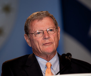 Senator Jim Inhofe (R-OK) addresses  social conservatives at the Values Voter Summit in Washington DC on September 17, 2010.  The event was sponsored by the Family Research Council.  (Photo by Jeff Malet).