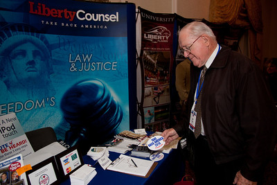 "Social conservative organization's such as The Liberty Council exhibited at the Values Voter Summit in Washington DC on September 17, 2010. The event was sponsored by the Family Research Council. Liberty Counsel is a ""nonprofit litigation, education and policy organization dedicated to advancing religious freedom, the sanctity of human life and the family."" (Photo by Jeff Malet)."
