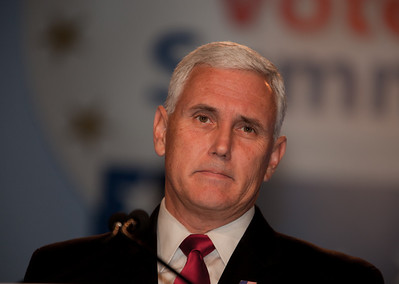 Representative Mike Pence (R-Ind.) addresses social conservatives at the Values Voter Summit in Washington DC on September 17, 2010. The event was sponsored by the Family Research Council. (Photo by Jeff Malet).
