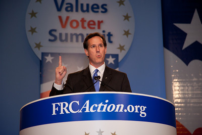 Former Senator Rick Santorum (R-PA) addresses social conservatives at the Values Voter Summit in Washington DC on September 17, 2010. The event was sponsored by the Family Research Council. (Photo by Jeff Malet).