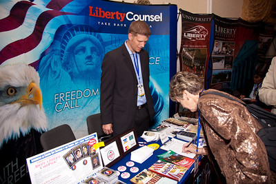 "Social conservative organization's such as The Liberty Council exhibited at the Values Voter Summit in Washington DC on September 17, 2010. Liberty Counsel ""is a nonprofit litigation, education and policy organization dedicated to advancing religious freedom, the sanctity of human life and the family."" (Photo by Jeff Malet)."