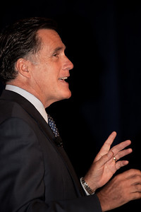 Former Governor Mitt Romney addresses social conservatives at the Values Voter Summit in Washington DC on September 17, 2010. The event was sponsored by the Family Research Council. (Photo by Jeff Malet).