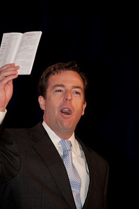 "Matt Spalding addresses social conservatives at the Values Voter Summit in Washington DC on September 17, 2010. Spalding is author of ""We Still Hold These Truths: Rediscovering Our Principles, Reclaiming Our Future"". He is Director, B. Kenneth Simon Center for American Studies, The Heritage Foundation. He is holding up a copy of the Constitution which is being distributed free to attendees by The Heritage Foundation. (Photo by Jeff Malet)."