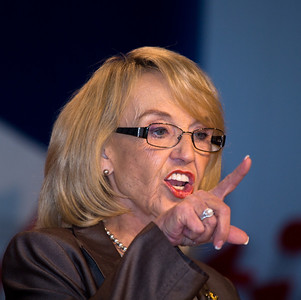 Governor Jan Brewer (R-Arizona) speaks at the Values Voter Summit on Friday, Sept 15, 2012 in Washington DC. The annual gathering of Christian conservatives and elected officials is a joint production of the Family Research Council and other social conservative groups. Gay marriage, abortion, religion and the upcoming presidential election dominated the discussion. (Photo by Jeff Malet)
