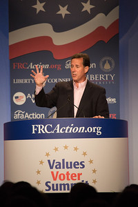 Senator Rick Santorum, former U.S. Senator (R-Pa.) and 2012 Republican Presidential Candidate, speaks at the Values Voter Summit on Friday, Sept 15, 2012 in Washington DC. The annual gathering of Christian conservatives and elected officials is a joint production of the Family Research Council and other social conservative groups. Gay marriage, abortion, health care and religion and the upcoming presidential election dominated the discussion. (Photo by Jeff Malet)