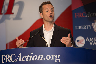 Kirk Cameron, television film actor and producer, speaks at the Values Voter Summit on Friday, Sept 14, 2012 in Washington DC. The annual gathering of Christian conservatives and elected officials is a joint production of the Family Research Council and other social conservative groups. Gay marriage, abortion, religion and the upcoming presidential election dominated the discussion. (Photo by Jeff Malet)