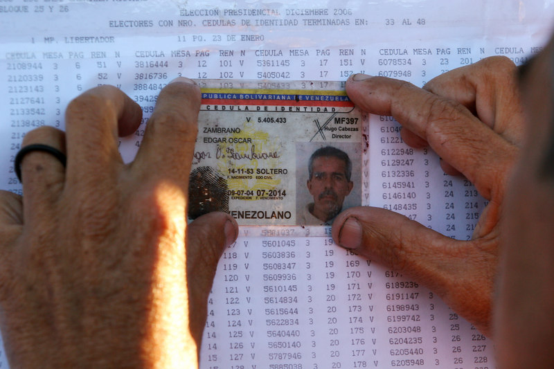 A voter looks for his voting ID number on a printout near a voting station in the 23 de enero neighborhood in Caracas, Venezuela, Dec. 3 , 2006. The poor working class neighborhood is a stronghold of support for Venezuelan President Hugo Chavez. First elected President in 1998, Chavez leads some opinion polls for the election with up to 60 percent of voter intentions. Chavez is a master of marketing and has achieved pop star status among the lower classes, who adore him.(AustralFoto/Douglas Engle)