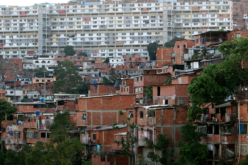 A view of the 23 de enero neighborhood in Caracas, Venezuela, Nov. 29, 2006, a stronghold of support for Venezuelan President Hugo Chavez. First elected President in 1998, Chavez leads some opinion polls for the Dec. 3 2006 election with up to 60 percent of voter intentions. Chavez is a master of marketing and has achieved pop star status among the lower classes, who adore him.(AustralFoto/Douglas Engle)