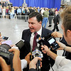 John P. Cleary |  The Herald Bulletin<br /> Vice President Mike Pence visits Anderson and gives an address on tax reform at the Wylam Center of Flagship East. Congressman Todd Rokita talks to media with reaction to Pence's speech.