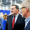 John P. Cleary |  The Herald Bulletin<br /> Vice President Mike Pence visits Anderson and gives an address on tax reform at the Wylam Center of Flagship East. Senator Joe Donnelly at Pence speech.