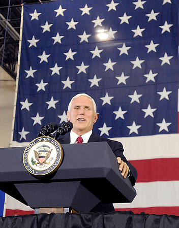 John P. Cleary    The Herald Bulletin<br /> Vice President Mike Pence visits Anderson and gives an address on tax reform at the Wylam Center of Flagship East.