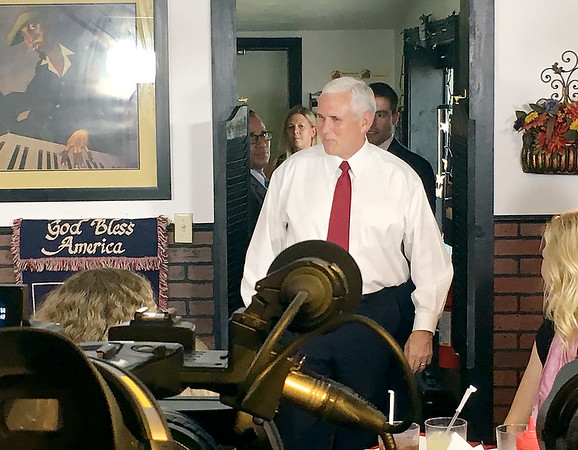 Vice President Mike Pence visits Anderson and meets with residents at the Pitt Barbecue.