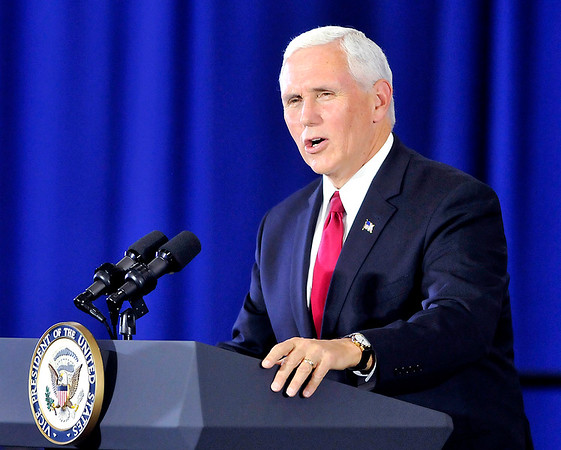 John P. Cleary |  The Herald Bulletin<br /> Vice President Mike Pence visits Anderson and gives an address on tax reform at the Wylam Center of Flagship East.