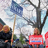 Carolyn Smart, candidate for selectman, and Kathy Spofford, candidate for Town Clerk, hold their signs out in front of the polls at Town Hall in Townsend on Monday morning. SENTINEL & ENTERPRISE/JOHN LOVE