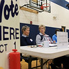 Waiting for voters to check out after filling out their ballots in Westminster is election officials Theresa Grenier, who has been doing this for 40 years, and her friend Gloria Hughes, who has by her side for the past 20 years.  SENTINEL& ENTERPRISE/JOHN LOVE